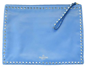 Valentino Large Rockstud Blue Clutch