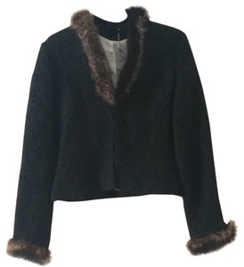 W118 by Walter Baker Black w fur trim Blazer