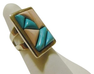 Mine Finds by Jay King Mine Finds by Jay King DTR/Signed .925 Sterling Silver Pink and Turquoise Rectangular Ring Size 8