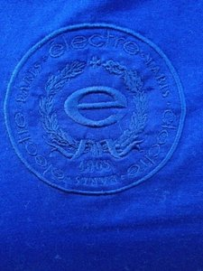 elect're Paris Electre Jeans Paris France Embroidered Logo Made In France Well Made Very Soft Cotton Hard To Find In Usa T Shirt navy blue