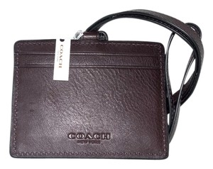 Coach Coach East West Mahogany Brown Leather Lanyard Badge ID Holder, NWT 63629 ($95)