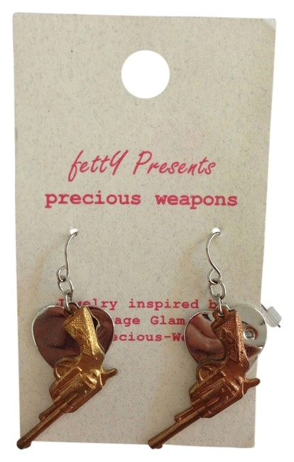 Silver Heart with Gun From Urban Outfitters Earrings Silver Heart with Gun From Urban Outfitters Earrings Image 1