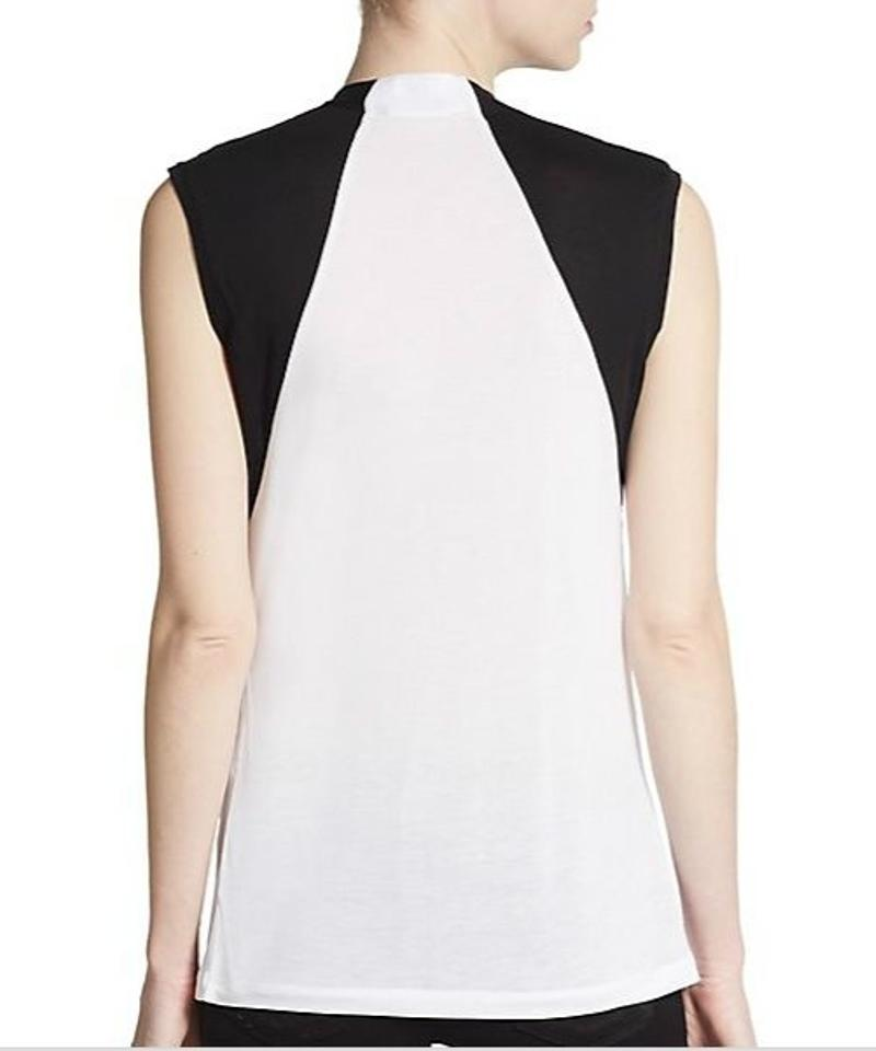 Tank Enya Jersey New Sleeves Cami Top White Pullover BCBGMAXAZRIA M Cowlneck Black Cap wqTvICt