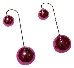Other New Double Ball Drop Earrings Dark Pink Silver J1297