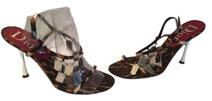 Dior Silver Stilettos Ankle Straps Multi color Sandals
