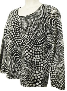 Chico's Sheer Animal Print Long-sleeve Top Black/White/Gray