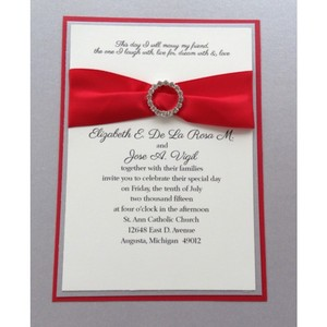 Set Of 50 Silver And Red Bling Triple Layered Wedding Invitation Set
