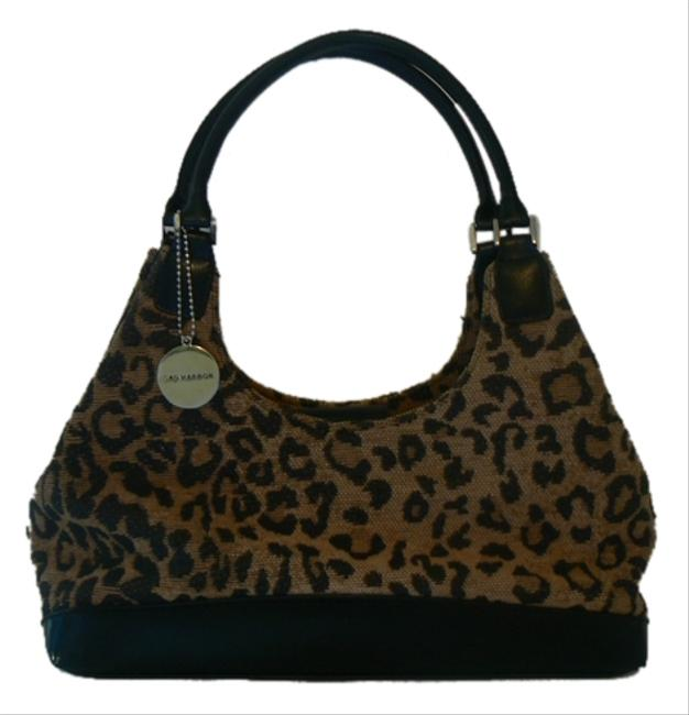 Sag Harbor Animal Black/Beige Material/Faux Leather Print Shoulder Bag Sag Harbor Animal Black/Beige Material/Faux Leather Print Shoulder Bag Image 1