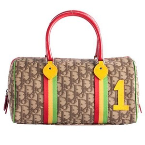 Dior Satchel in Red Green Yellow Taupe