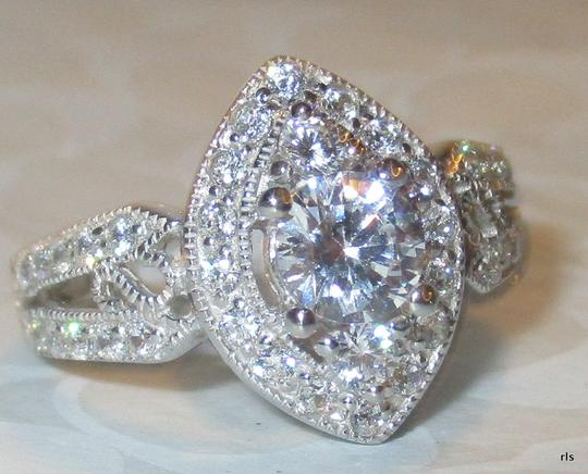Other Genuine Sterling Silver Marquise Shaped Halo Clear CZ with CZ Accents Split Shank Band Size 5