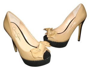 Jessica Simpson Peep Toe Bow Stilettos Beige, Black Platforms