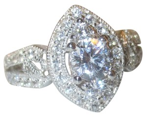 Other Genuine Sterling Silver Marquise Shaped Halo Clear CZ with CZ Accents Split Shank Band Size 9