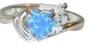 Other Genuine Sterling Silver Heart Cut Blue Opal White Topaz Accents Filigree Ring Size 8