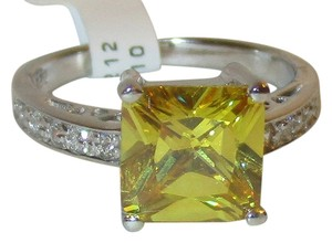 Genuine Sterling Silver Princess Cut 8mm Citrine White Sapphire Accents Size 5 6 7 8 9 10