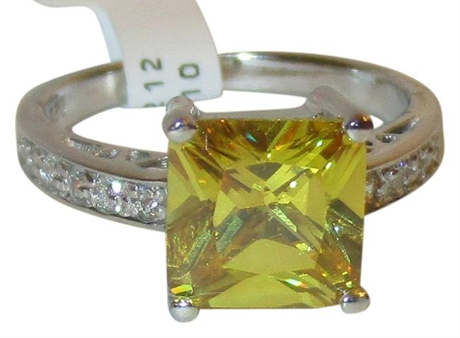 Citrine Genuine Sterling Silver Princess Cut 8mm White Sapphire Accents Size 5 6 7 8 9 10 Ring Citrine Genuine Sterling Silver Princess Cut 8mm White Sapphire Accents Size 5 6 7 8 9 10 Ring Image 1
