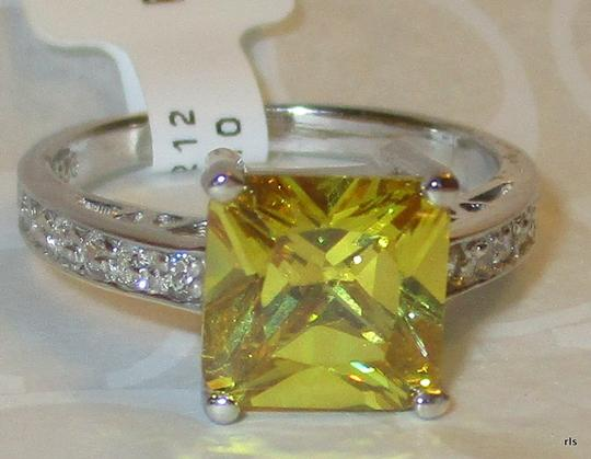 Other Genuine Sterling Silver Princess Cut 8mm Citrine White Sapphire Accents Size 5 6 7 8 9 10