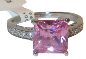 Genuine Sterling Silver 10mm Princess Pink Topaz White Topaz Accents Sizes 5 6 7 8 9 10