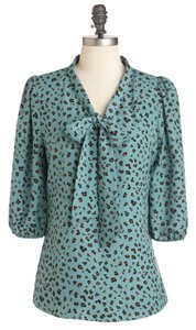 Comme Toi Modcloth Office Top Teal
