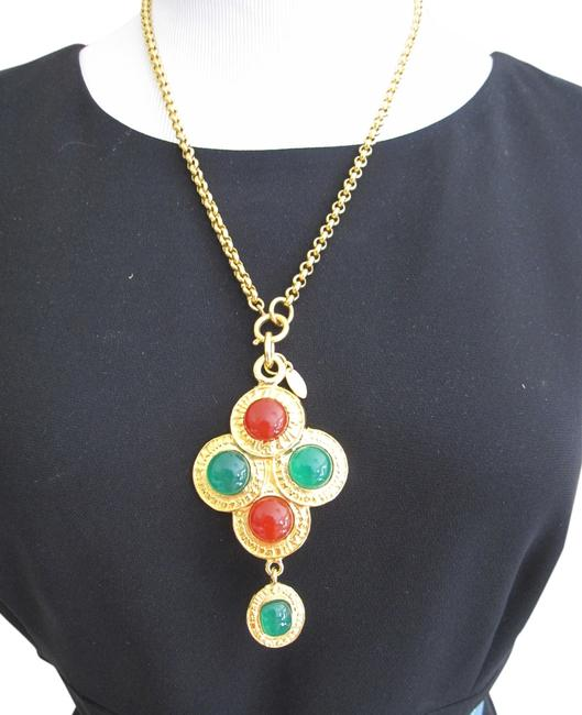 Chanel Gold Green and Ruby Red Final Sale *rare* .vintage Gripoix Glass Necklace Chanel Gold Green and Ruby Red Final Sale *rare* .vintage Gripoix Glass Necklace Image 1
