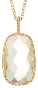 Savvy Cie Savvy Cie Genuine Green Amethyst (8 1/2 ctw) Stone Pendant Necklace, bezel set in 14K Gold Vermeil