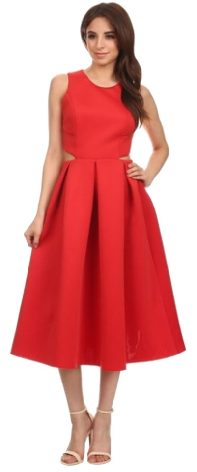 Red Mid Length Formal Dress Size 12 L Tradesy