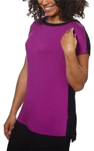 Ellen Tracy Color-blocking Short Sleeve T Shirt Orchid