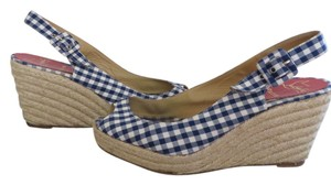 Christian Louboutin Vichy Pinup Pin Up Retro Espadrille Checked Checkered Blue And White Gingham Wedges