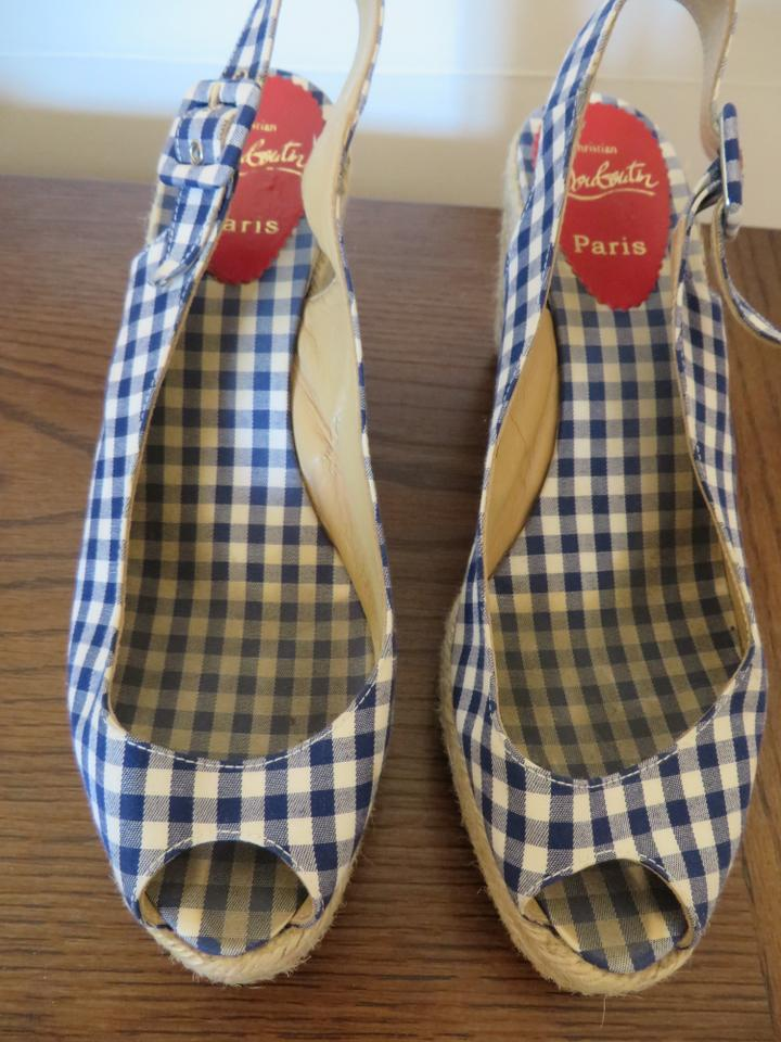 louboutin sneakers - Christian Louboutin Menorca 130 Size 39 Vichy Blue And White ...