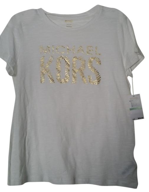 Item - White with Gold Tee Shirt Size 12 (L)