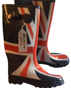 Wellington Uk London Wellies Mud Rain Brit British Red blue white Boots