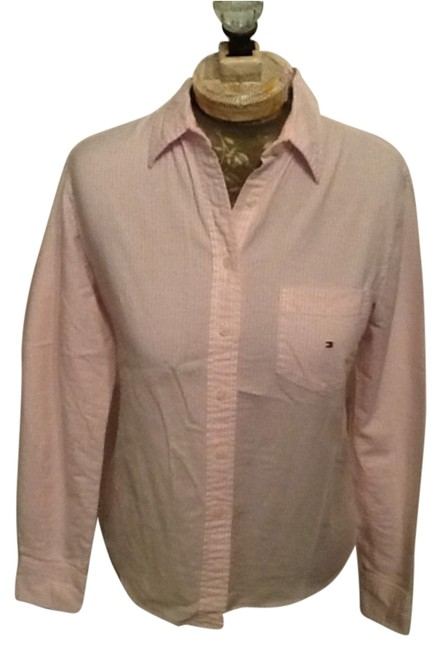 Tommy Hilfiger Pink & White Rn#66476/Ca#20781 Button-down Top Size 8 (M) Tommy Hilfiger Pink & White Rn#66476/Ca#20781 Button-down Top Size 8 (M) Image 1