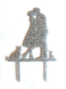 Acrylic Silver Kissing Couple With Two Dogs Cake Topper