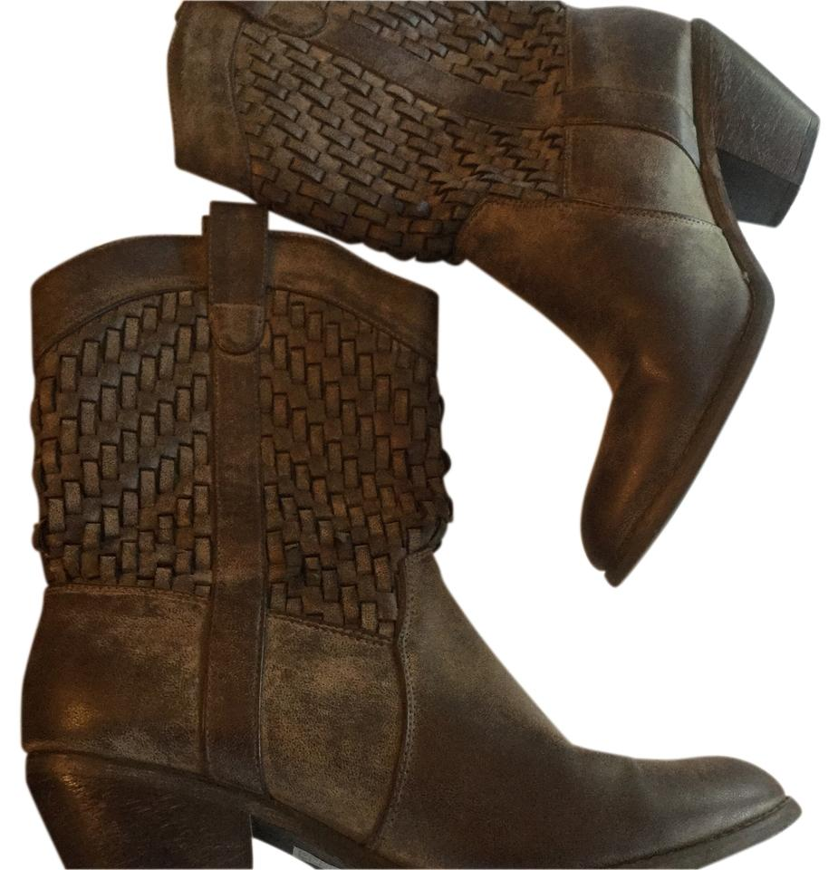 Forever 21 Brown Distressed Cowboy Woven Cowboy Distressed Boots/Booties 53ce60