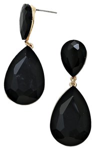 Other New With Tags Beautiful Jet Black Swarovski Crystal with Gold Setting Pierced Doubled Teardrop Earrings
