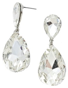 Other New With Tags Beautiful Silver Swarovski Crystal with Silver Setting Pierced Doubled Teardrop Earrings