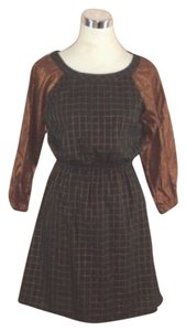 Built By Wendy short dress Black Plaid Cronze Metallic Cotton on Tradesy