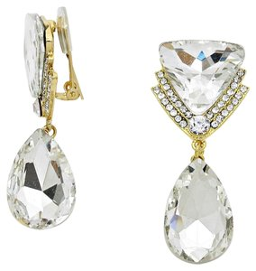 New With Tags Beautiful Clear Swarovski Crystal with Gold Setting Clip-On Delta Teardrop Earrings