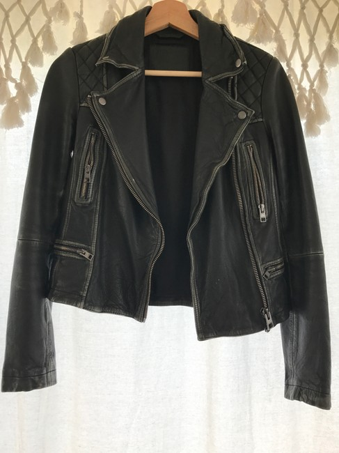 AllSaints Black and Gray Leather Jacket