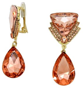 Other New With Tags Beautiful Peach Swarovski Crystal with Gold Setting Clip-On Delta Teardrop Earrings