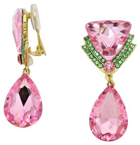 New With Tags Beautiful Pink & Green Swarovski Crystal with Gold Setting Clip-On Delta Teardrop Earrings