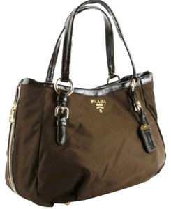 Prada Patent Leather Nylon Tote in Brown
