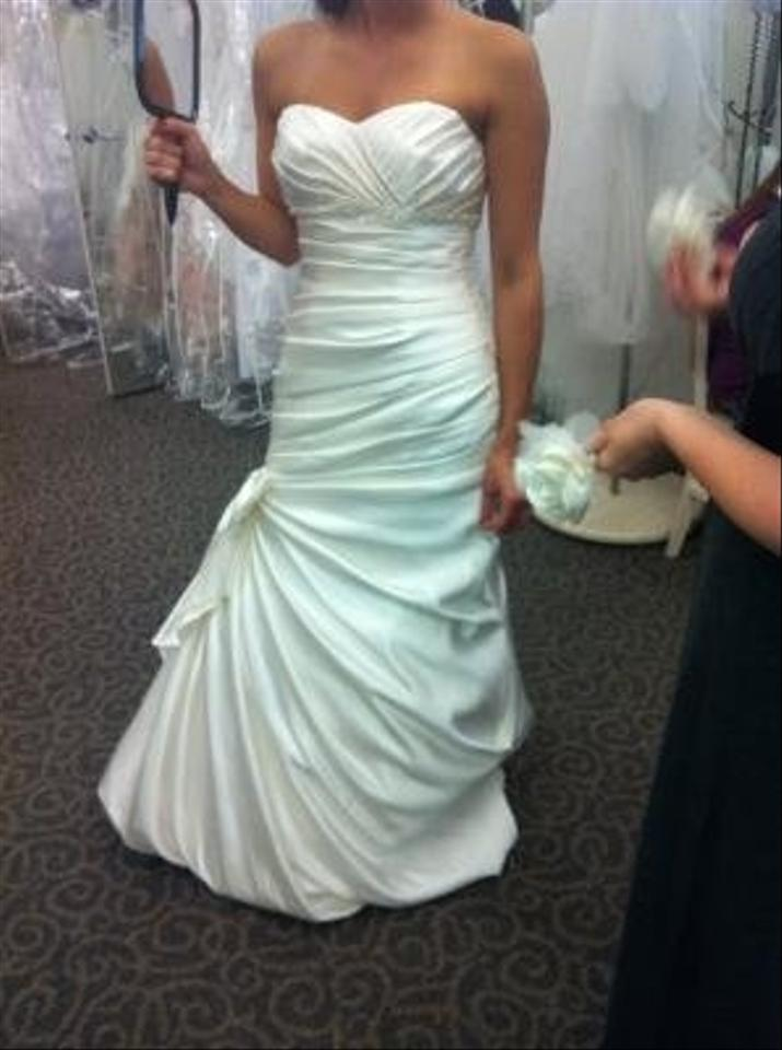 David S Bridal Satin Fit And Flare Gown With Bow Detail