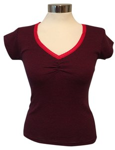 Claudie Pierlot Tortue V-neck T Shirt Red