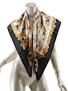 Wathne WATHNE Black/Cream/Browns 100% Silk 'Wildlife' Theme scarf - 35