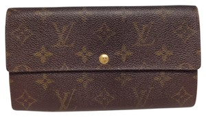 Louis Vuitton Louis Vuitton #2895 Monogram Long Flap Wallet Pocket Bill Holder Card Case Coin Purse