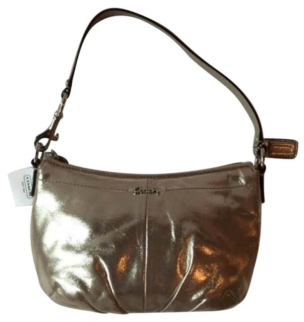 Coach Pleated Top Handle Mini Purse F45548 Pewter Fabric Covered Leather Baguette Coach Pleated Top Handle Mini Purse F45548 Pewter Fabric Covered Leather Baguette Image 1