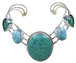 Other Turquoise aqua crystal silver inlay bracelet