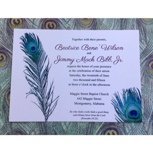 Set Of 50 Peacock Themed Invitation And Reception Insert