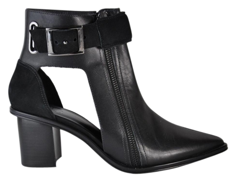 Tibi Black Out New Suvi Leather Buckle Heel Cut Out Black Ankle 39 Boots/Booties 9ff52e