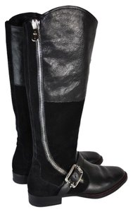 Cesare Paciotti Buckle Knee High Moto Riding Black Boots